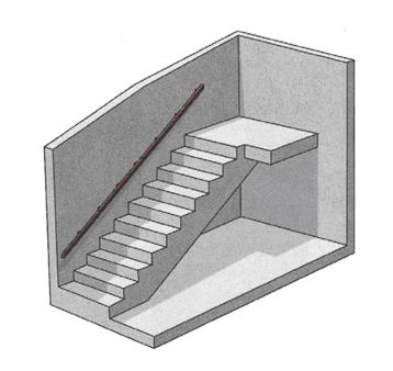 Spécificité des garde-corps associés aux volées et paliers d'escaliers